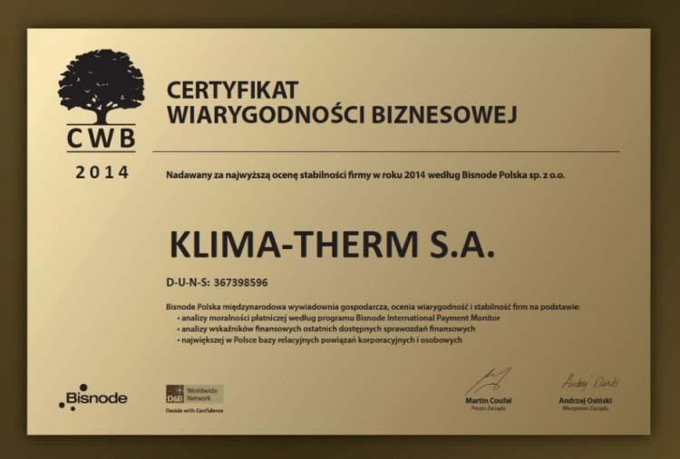 Firma KLIMA-THERM wyróżniona prestiżowym certyfikatem