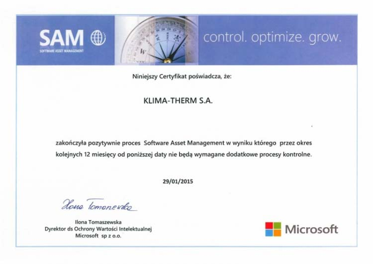 Software Asset Management (SAM) in KLIMA-THERM Group