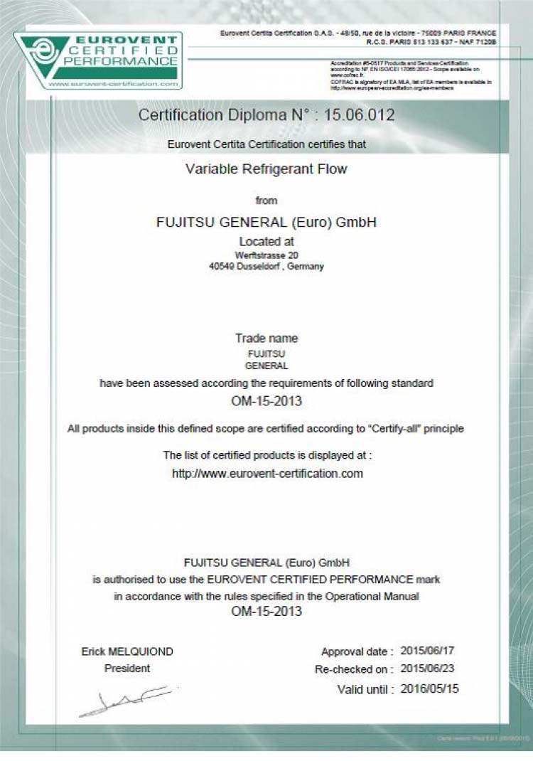 FUJITSU VRF Airstage systems get EUROVENT certificate