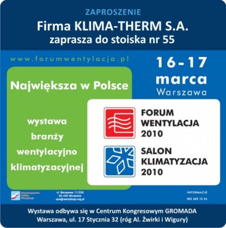FORUM WENTYLACJA - SALON KLIMATYZACJA 2010