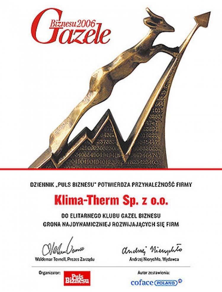 Klima-Therm Sp. z o.o. - laureatem wyróżnienia Gazele Biznesu 2006