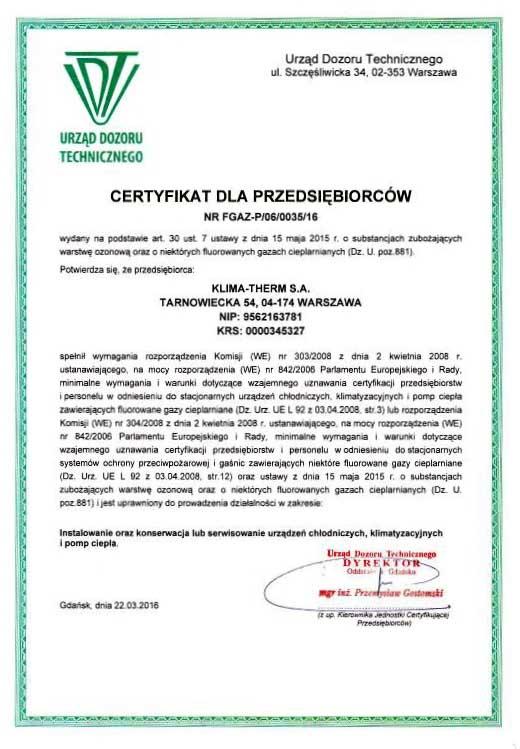 Certyfikat F-gazowy dla KLIMA-THERM