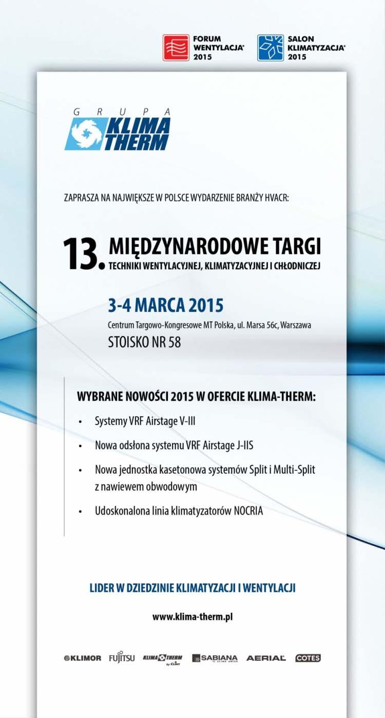 KLIMA-THERM participates Forum Wentylacja - Salon Klimatyzacja 2015 Exhibition