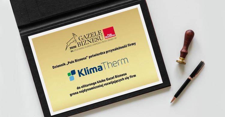 """Grupa Klima-Therm w prestiżowym gronie """"Gazeli Biznesu 2020"""""""